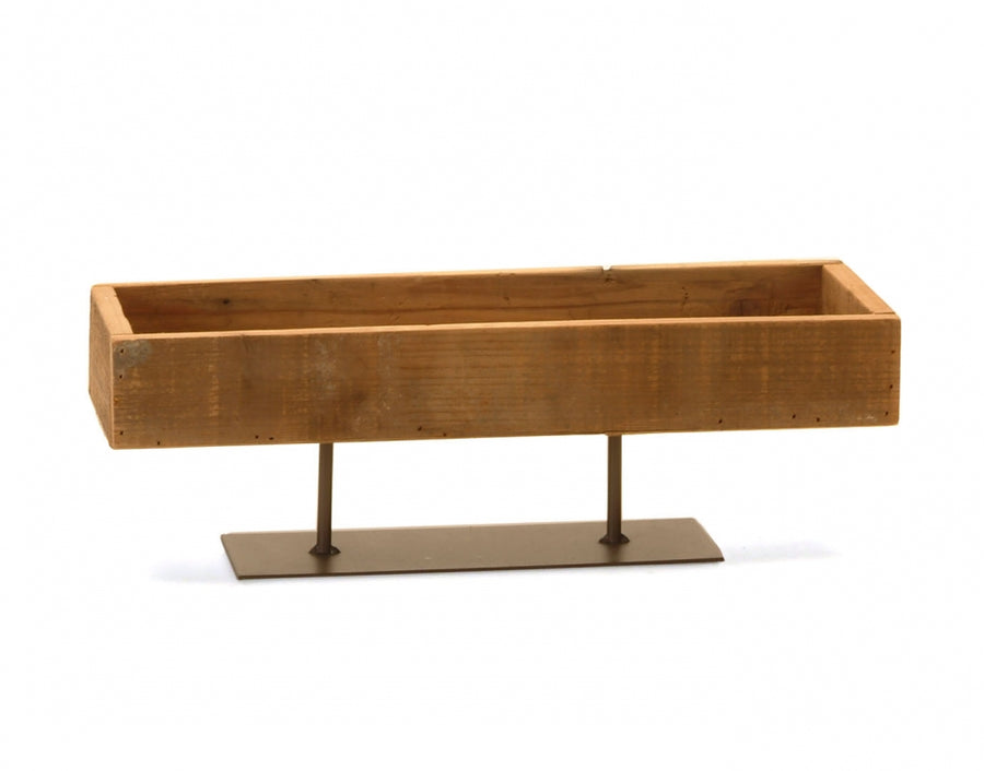 Wood Tray with Metal Stand - Medium