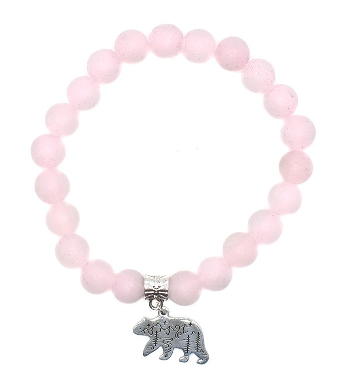 Rose Quartz Mountain Bear Bracelet