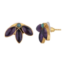 Load image into Gallery viewer, LEAVES AMETHYST EARRINGS