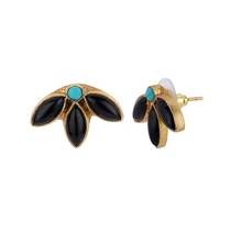 Load image into Gallery viewer, LEAVES BLACK EARRINGS