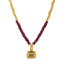 Load image into Gallery viewer, PEACOCK GARNET NECKLACE