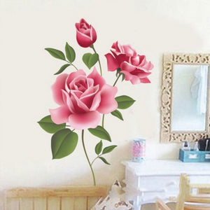 3D Rose Flower Romantic Love Wall Sticker Removable Decal Home Decor Living Room Bed Decal
