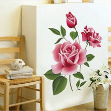 Load image into Gallery viewer, 3D Rose Flower Romantic Love Wall Sticker Removable Decal Home Decor Living Room Bed Decal