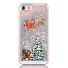 Load image into Gallery viewer, Cartoon Case For iPhone X 7 8 Plus Glitter Powder Christmas Quicksand Phone Cases For iPhone 7 6 6s Plus Hard PC Cover