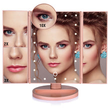 Load image into Gallery viewer, LED Touch Screen 22 Light Makeup Mirror Table Desktop Makeup 1X/2X/3X/10X Magnifying Mirrors Vanity 3 Folding Adjustable Mirror