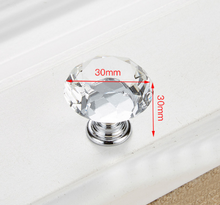Load image into Gallery viewer, Acrylic Zinc Alloy Crystal Glass Door Knobs with Screws Drawer Cabinet Furniture Kitchen