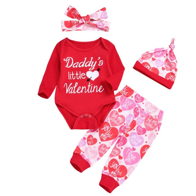 Valentine's Day Newborn Baby Boy Girl Letter Daddy's little Valentine Romper Pants Hat Set Outfits Clothes bebek giyim