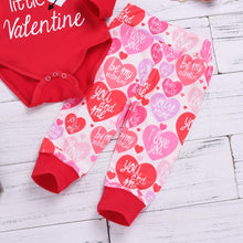Load image into Gallery viewer, Valentine's Day Newborn Baby Boy Girl Letter Daddy's little Valentine Romper Pants Hat Set Outfits Clothes bebek giyim