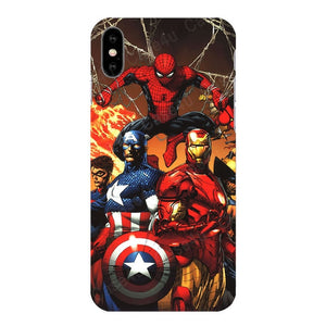 Superhero Case for iPhone 6s 7 8 Plus X 10 XS Max XR Silicone Rubber Cover Ironman coque