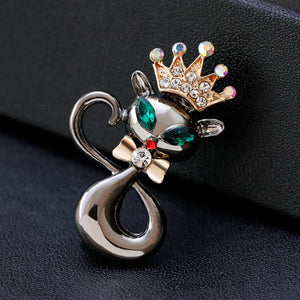 Lively Pride Cat Brooch for Party Shell Metal Crown Blue Crystal Enamel  Women Jewelry Accessories