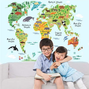 Animal world map wall stickers