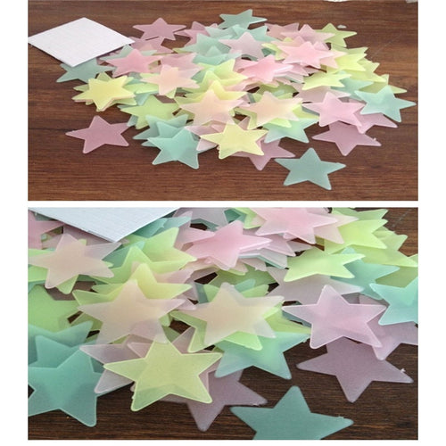 100pcs 3D Stars Glow In The Dark Wall Stickers Luminous