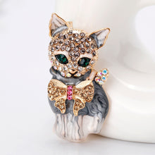 Load image into Gallery viewer, Lively Pride Cat Brooch for Party Shell Metal Crown Blue Crystal Enamel  Women Jewelry Accessories