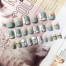 Load image into Gallery viewer, 24 pcs Green White Transparent Fake Nails With Metallic Strip Rivet Designs Short Square False Nail Tips With Glue Sticker