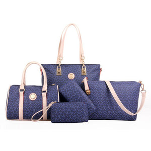 6 pcs lady set bag Women handbag with shoulder bag+Totes+clutch+key holder