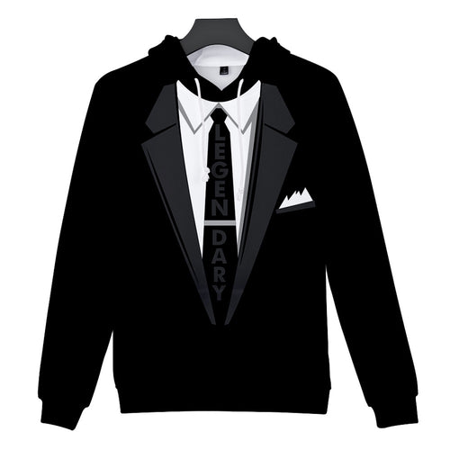 Men Suit Black hoodie Pattern 3D Print Long Sleeve Caps Sweatshirt Pullover sudaderas para hombre mens hoodies