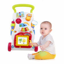 Load image into Gallery viewer, Baby Walker Musical Toddler Trolley Sit to Stand Walker for Kid's Early Learning Educational Baby First Steps Car Adjustable