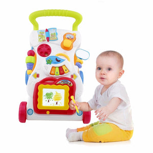 Baby Walker Musical Toddler Trolley Sit to Stand Walker for Kid's Early Learning Educational Baby First Steps Car Adjustable