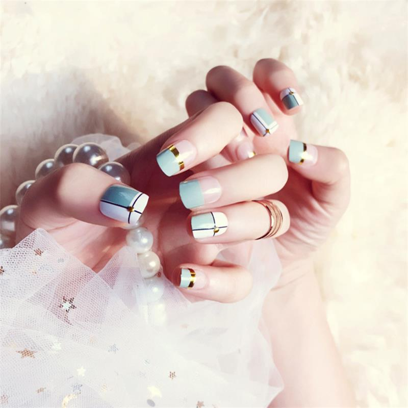 24 pcs Green White Transparent Fake Nails With Metallic Strip Rivet Designs Short Square False Nail Tips With Glue Sticker
