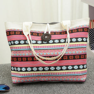 Women Handbag National Wind Printed Canvas Tote Casual Beach Bags Women Shopping Bag Handbags Bolsos Mujer
