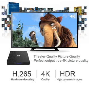 T9 4GB 64GB RK3328 Quad Core Smart Android 8.1 TV BOX Bluetooth4.0 H2.65 4K 2.4GHz/5GHz WIFI Set-top box Media Player