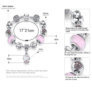 925 Silver Kitty Cat Charm Bracelet Fit Original Bracelet Bangle Murano Glass Beads Bracelet for Women Girls Kids DIY Jewelry