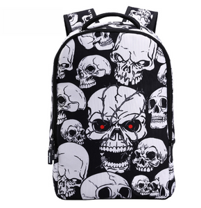 3D Skull Laptop Backpack for Men Punk Rock Printing School Backpack Casual School Bags