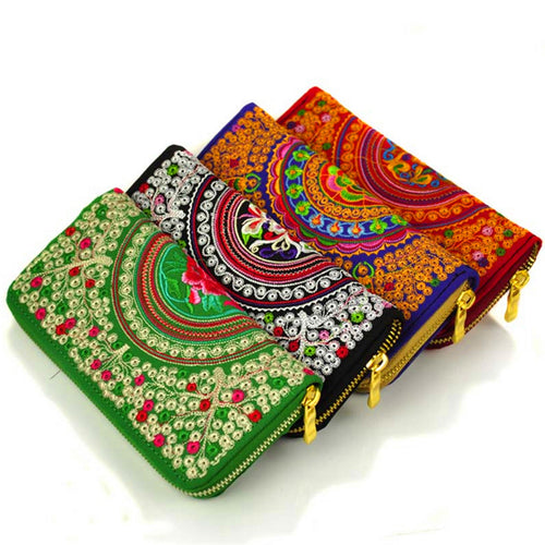 Features embroidered Womens purses Upscale Fashion Ladies Wallet Long section Wallets Embroidery purse Support