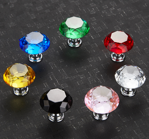 Acrylic Zinc Alloy Crystal Glass Door Knobs with Screws Drawer Cabinet Furniture Kitchen