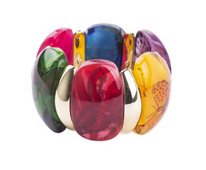 Fashion Jewelry Resin Clear Wide Bangle for Women Vintage Accessories