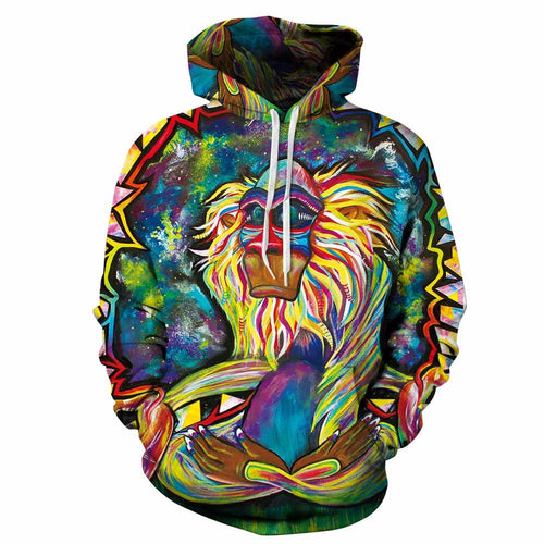 Meditating Rafiki Men Women Hoodies 3D Printed Sweatshrits Brand Pullover Unisex Funny Harajuku Tracksuit Hooded Outwear Coat