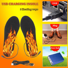 Load image into Gallery viewer, Hot new heated Shoe sole warm socks with USB cable