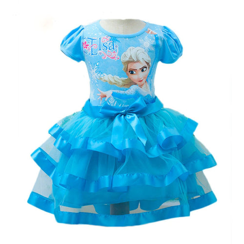 Berngi Brand New style elsa girl short sleeves tutu Dress kids party Princess Anna Dress Snow Queen Cosplay Costume