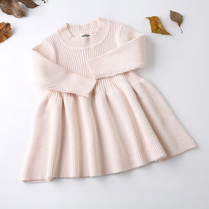 Long Sleeved Knit princess dress Lotus Leaf Collar Pocket