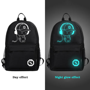 **Best Selling ***Student School Backpack Anime Luminous USB Charge Laptop Computer Backpack For Teenager Anti-theft Boys School Bag