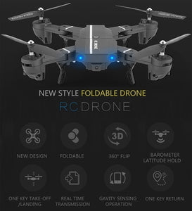 2019 NEW Drone Wifi FPV Quadcopter G-sensor Altitude Hold Foldable Selfie RC Drones with HD Camera Done Videos