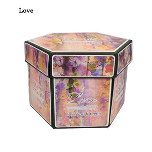 DIY Hexagon Surprise Love Explosion Box Scrapbook Photo Album Anniversary Gift Box For Valentine Birthday Christams Decoration