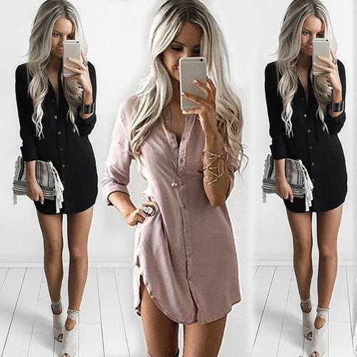 2019 office Lady Women's Long Sleeve Shirt Casual Full