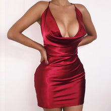 Load image into Gallery viewer, Summer Womens Sexy Satin Night Club Wear Dresses Ladies Red Spaghetti Strap