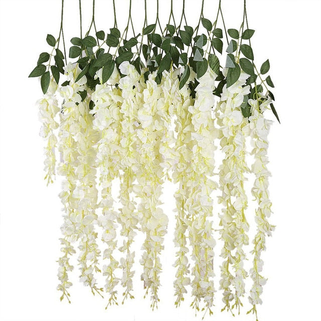 Vines Wedding Decor Rattan Flower Garland Silk Cherry Fake