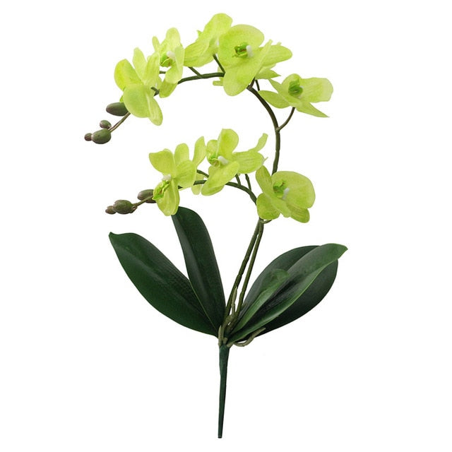 Artificial Orchid Flowers with Leaves home Decoration Flores