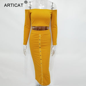2019 Articat Off Shoulder Long Sleeve Sexy Dress