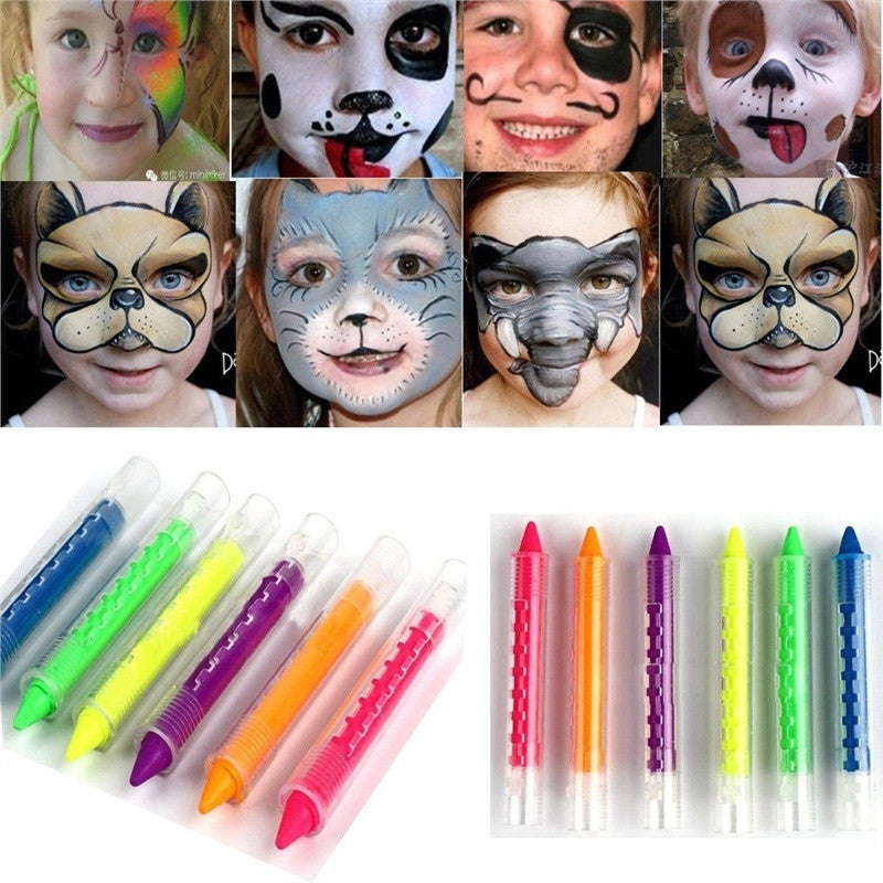 Face Body Painting Crayon 6 Colours Kit Set Sticks Party Wedding Kids