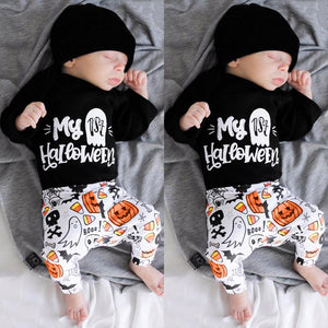 Toddler Infant Baby Girls Boys Letter Romper Pants Halloween Costume Outfits Set