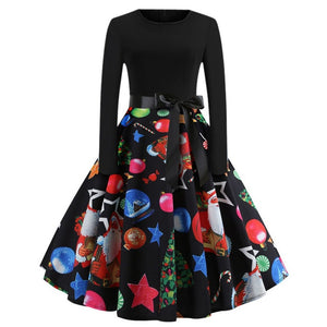 Winter Christmas Dresses Women  Elegant Party Dress Long Sleeve
