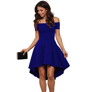 Vintage 2019 Women Sexy Slash neck Solid color Party dress