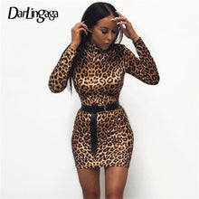 Load image into Gallery viewer, Darlingaga Fashion turtleneck leopard dress women