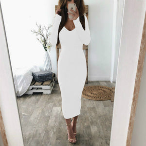 2019 Autumn Winter Knitted  Dress Sexy Long Sleeve V Neck Women