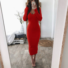Load image into Gallery viewer, 2019 Autumn Winter Knitted  Dress Sexy Long Sleeve V Neck Women