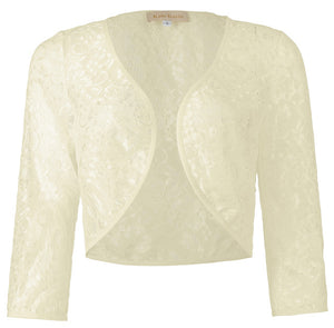 Lady Lace Shrug Bolero Jacket 3/4 Sleeve Cardigan Blouse